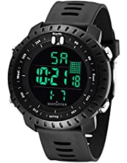 Men's Sports Watches Digital LED Backlight Watch and Waterproof Casual Large Face Luminous Military Watches Outdoor Stopwatch Alarm