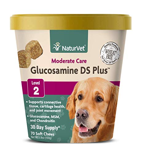 NaturVet - Glucosamine DS Plus - Level 2 Moderate Care - Supports Healthy Hip & Joint Function - Enhanced with Glucosamine, MSM & Chondroitin - for Dogs & Cats - 70 Soft Chews