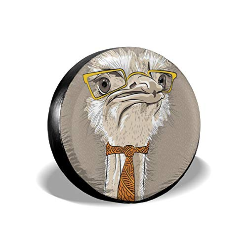 GULTMEE Tire Cover Tire Cover Wheel Covers,Sketch Portrait of Funny Modern Ostrich Bird with Yellow Eyeglasses and Tie,for SUV Truck Camper Travel Trailer Accessories(14,15,16,17 Inch) 17