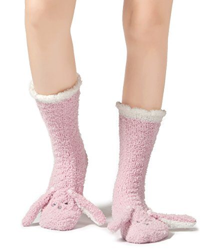 (Leotruny Women's Winter Cute Animal Ankle Slipper Fuzzy Socks (Rabbit-pink))