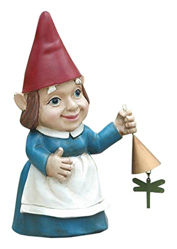 Hi-Line Gift Ltd. Lady Gnome with Dinner Bell Statue