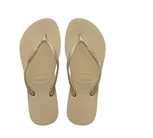 Havaianas Women's Slim Logo Metallic Sandal, Sand Grey/Light Gold,37/38 BR (7-8 M US)
