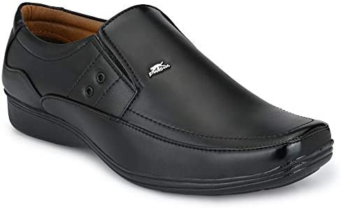 Stylelure Men's Leather Black Formal Shoes for Men