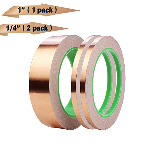 Ribbon Adhesive Paper (3 Pack Copper Foil Tape,Copper Tape Conductive Adhesive Double-Sided for EMI Shielding,Slug Repellent,Paper Circuits,Electrical Repairs,Grounding(1/4
