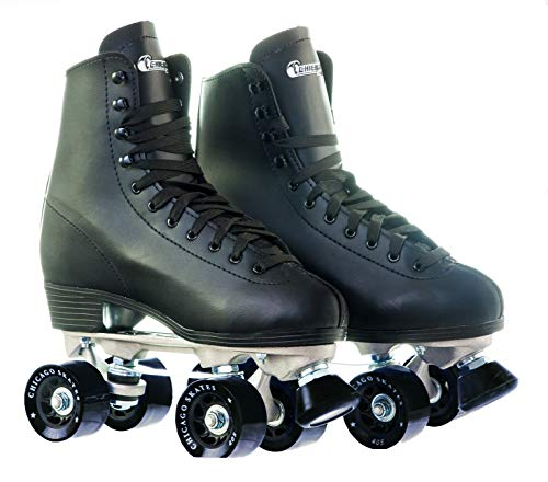 Chicago Men's Premium Leather Lined Rink Roller Skate - Classic Black Quad Skates - Size 9 ()