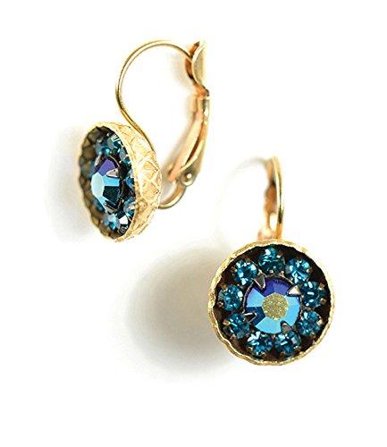 Crystal Deco Ring (Clara Beau Zircon Color Swarovski Glass Crystal Cluster GoldTone Earrings EV15 Zircon-G)