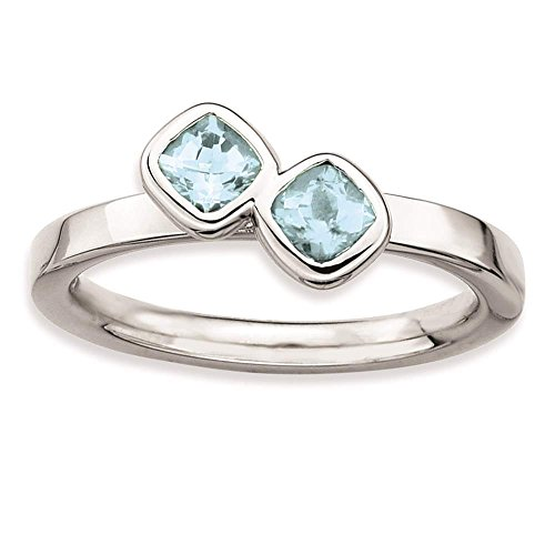 925 Sterling Silver Rhodium-plated Double Cushion Cut Aquamarine Ring by Stackable Expressions Size 9