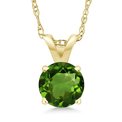 - Gem Stone King 0.50 Ct Round Green Chrome Diopside 14K Yellow Gold Pendant With Chain