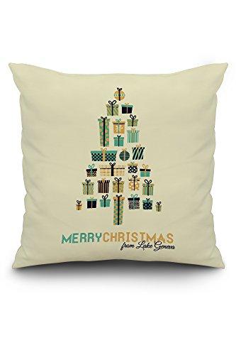 Lake Geneva, Wisconsin - Merry Christmas - Gifts Tree - Retro Christmas (20x20 Spun Polyester Pillow, Custom - Pottery Barn Tree Christmas Pillow