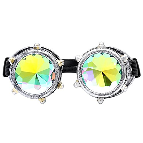 CYCTECH Unisex Trendy Kaleidoscope Sunglasses Rave Festival Party EDM Mirror Diffracted Lens Travel Driving Glasses - Oval Face Of Type Glasses For