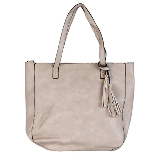 Clayre & Eef BAG219 borsa in ecopelle grigio circa 33 x 30 cm
