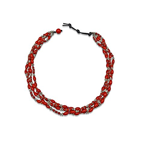 (MGR MY GEMS ROCK! Multi-Strand Hand Beaded Red Sea Bamboo Coral Silver Beads Collar Statement Necklace.)
