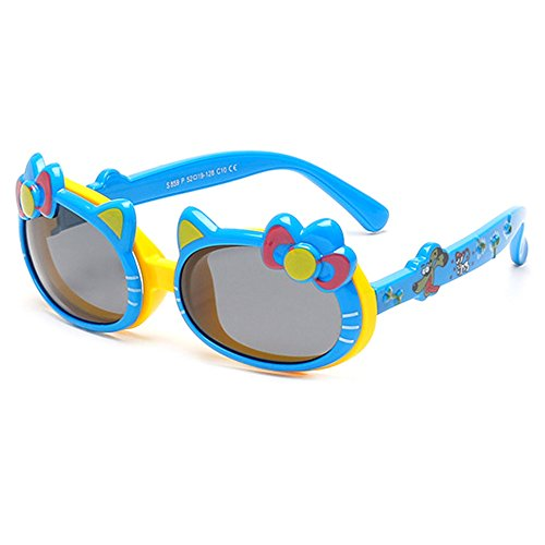 TIJN Cute Kids Rubber Polarized Cat Safety Flip Sunglasses for Girls Toddler Ages - Of Top Brands Sunglasses 10