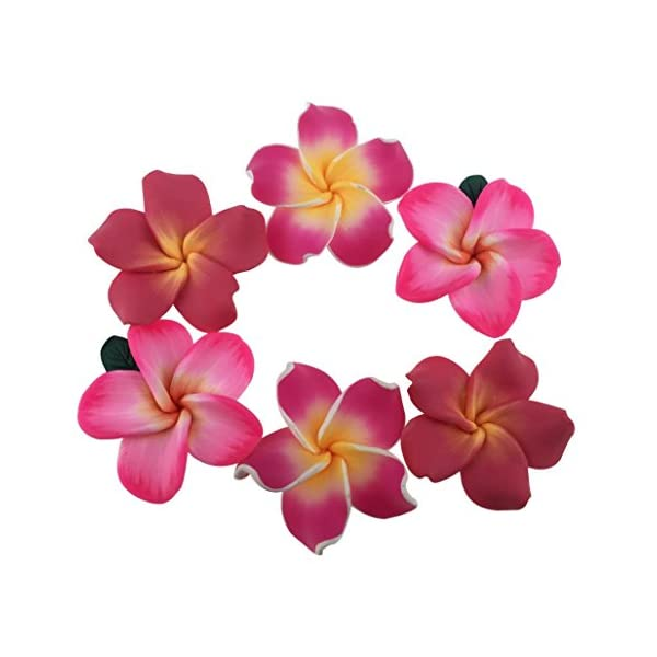 Pack of 50 Pieces Beautiful Colorful Handmade Mini Diameter 1.4″ Artificial Frangipani Plumeria Hawaiian Flower for Wedding Party Home Office Decoration Handwork (Assorted Color)