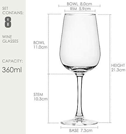 CREST Copas de Vino Blanco, 8 Piezas, 360 ML, Vaso de Cristal, Uso en Casa, Restaurante y en Fiestas