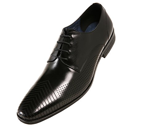 Asher Green Mens Leather Perforated Designed Plain Toe Dress Shoe, Lace Up Oxford