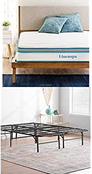 Linenspa 8 Inch Memory Foam and Hybrid Mattress + Linenspa Bed Frame