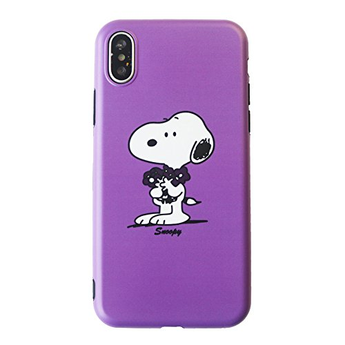Soft TPU Purple Snoopy Dog Case for iPhone Xs Max 6.5 Slim Sleek Fit Light Shockproof Shock Proof Protective Cute Lovely Gift Kids Teens Girls Boys Son Peanuts