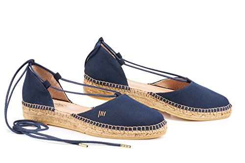 VISCATA Fonda Canvas Sandal, Soft Ankle-Tie, Closed Toe, Espadrilles Flats Made In Spain Navy