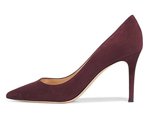 Femmes Grande Heels Des High Escarpins Quotidiennement Taille Violet A Pointues Toe Chaussures Ubeauty Enfiler BqwdBg