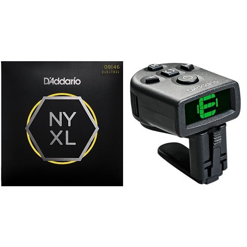 D'Addario NYXL Super Light Top/Regular Bottom Electric Guitar Strings and NS Micro Tuner Bundle by D'Addario