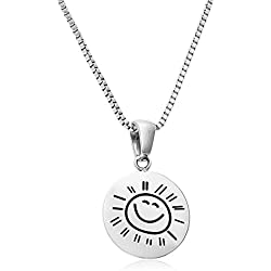 "Stainless Steel ""You Are My Sunshine My Only Sunshine"" Pendant Necklace Set On a Stainless Steel Box Link Chain, 18"", By Regetta Jewelry"