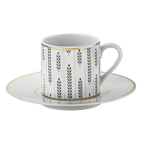Turkish Coffee Cup & Saucer Set - 12 Piece, 6 Coffee Cup & 6 Saucers - Set for Coffee Espresso, Latte, Coffee - Traditional Design - Yellow Dot Black Leaf And Branch Coffee Handle Fortune RU12KT430772