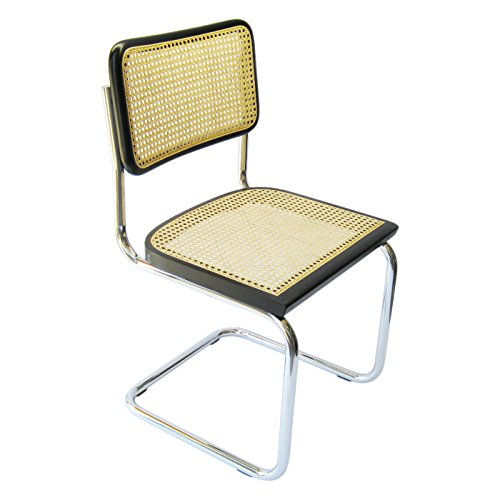 Marcel Breuer Cesca Cane Chrome Side Chair in Black (Seats Chair Breuer)