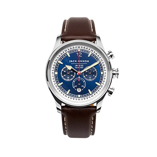 Jack Mason Men's Chronograph Watch Nautical Brown Italian Leather Strap JM-N102-015