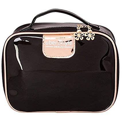 Uberlyfe Cosmetic Pouch For Women  amp; Girls   Royal Black  PU 001693 BKGDN BG