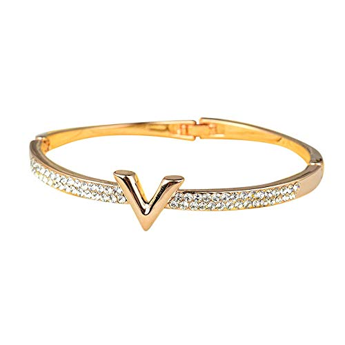 Diamond Bangle Bracelet Women Hand Made V Shaped Bracelet Silver Gold with Crystal Hot