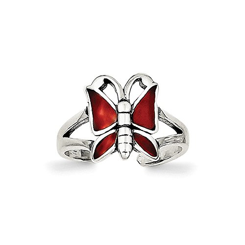 Sterling Silver Antiqued Red Enameled Butterfly Toe - Enameled Red Butterfly Charm