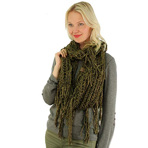 CC BEANIE Winter Soft Chenille Net Tassle Fringe Thick Knit Infinity Scarf Wrap New Olive (Green Chunky Scarves)