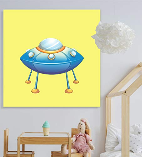 Square UFO Spacecraft Kid's Room Nursery Wall Decor Vibrant Color