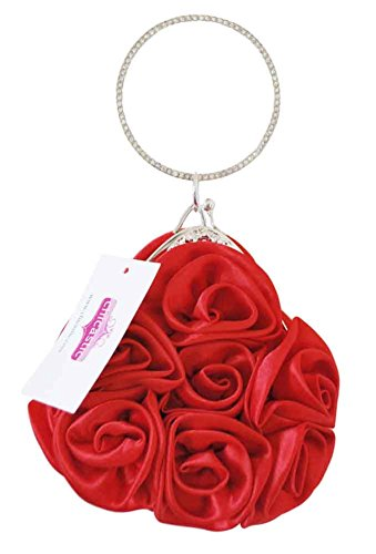 Flower Small Purse Wristlet Flower Shaped Red Girl Clutch Bunch Evening Chicastic Wedding 5dxS5q