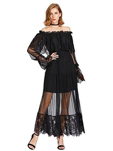 Milumia Women's Bohemian Drawstring Waist Lace Splicing White Long Maxi Dress X-Large Black