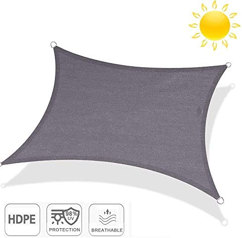 HORSE SECRET UV-Proof Square Shade Sails,12×20 Ft for Outdoor Terrace Garden Pools, Instead of Parasols Gray