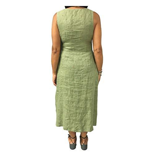 Verde Donna 7186 Lino Abito Mod Italy fiori Made Eccentrica A2 100 53 In Righe q5E0x6
