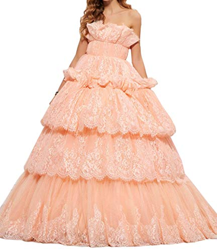 Women's Lace Applique Floor Length Tulle Ball Gown Quinceanera Dress Sweetheart Peach US18W