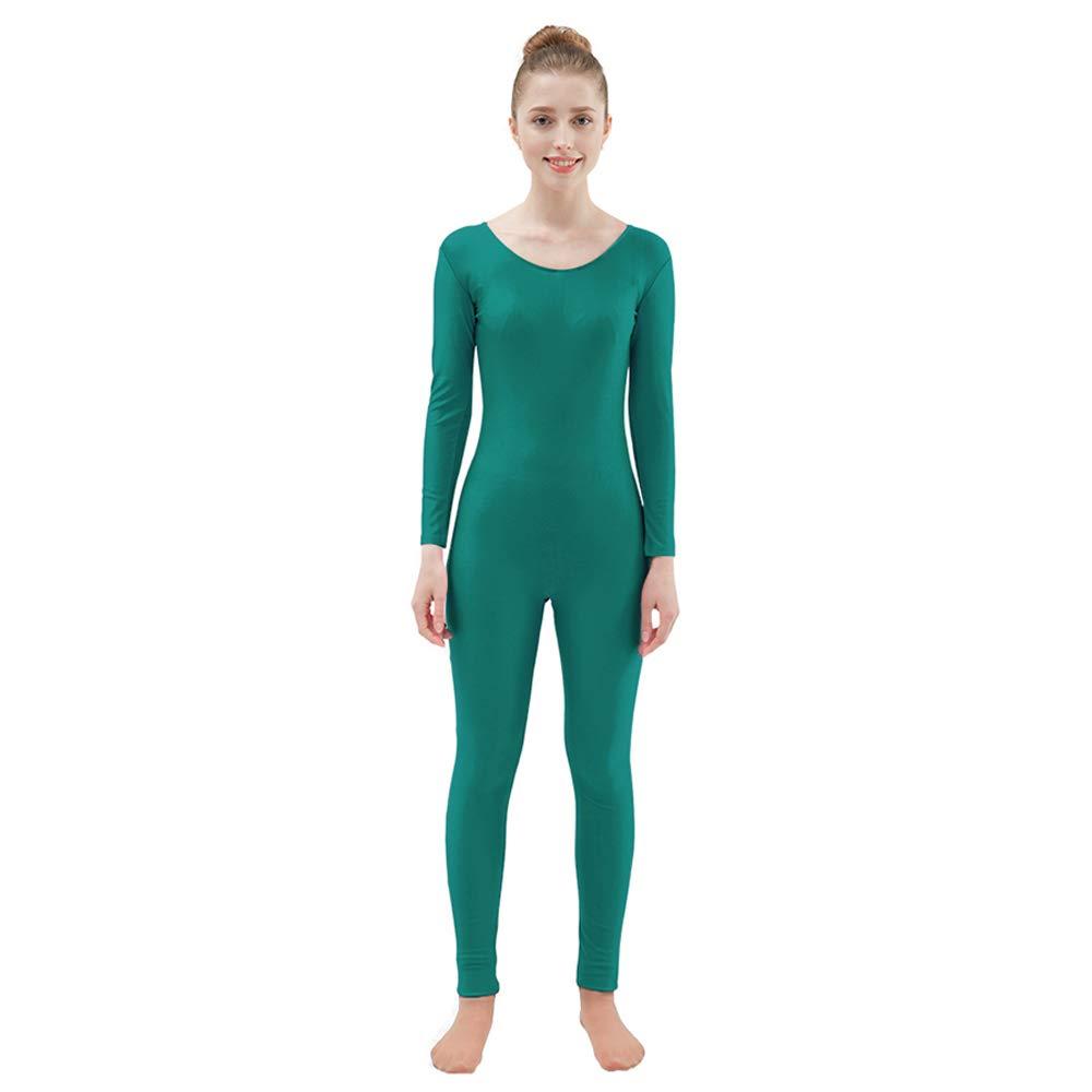 Ensnovo Womens Spandex Bodysuit Long Sleeve Scoop Neckline Footless Unitard Turquoise, XXL by Ensnovo