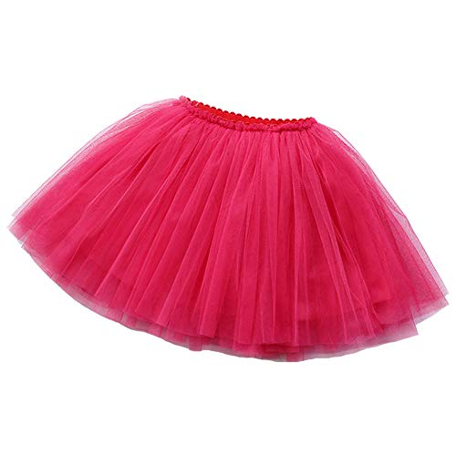 BUENOS NINOS Girl's 3 Layers Tulle Dress Up Tutu Princess Ballet Dance Party Skirt with Lining for 2-9T Hot Pink ()