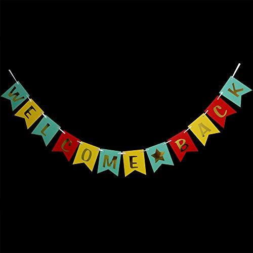 Hatcher lee Welcome Back banner - Hanging Pennant Party Banner Decorations Blue Yellow Red (welcome back home (Welcome Back Banner)
