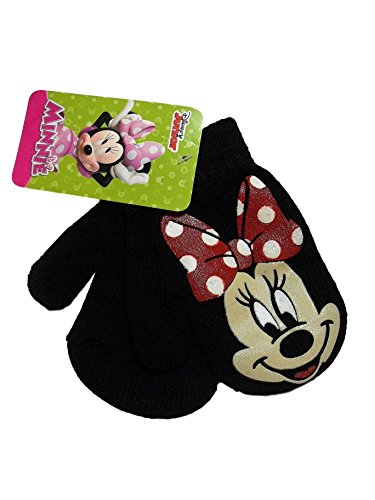 Minnie Mouse Black Girls Knit Winter Mittens
