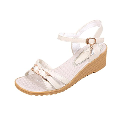 Jamicy Women Girls Summer Wedges Casual Sandals White njma82tJi