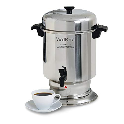 (West Bend 13550 Polished Stainless Steel Commercial Coffee Urn Features Automatic Temperature Control Large Capacity with Quick Brewing Easy Clean Up, 55-Cup, Silver)