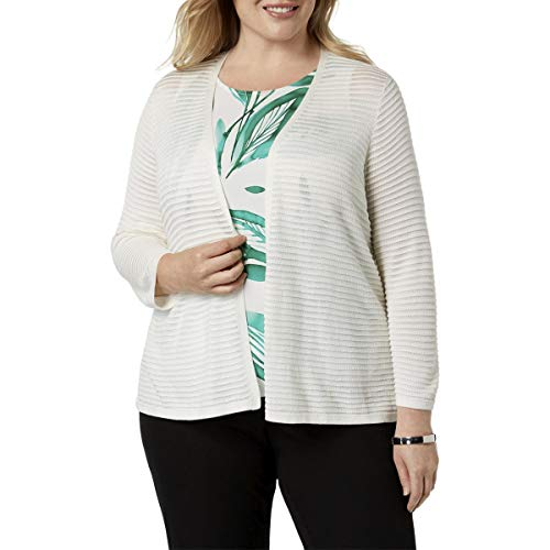 Alfani Womens Plus Sheer Long Sleeves Cardigan Sweater Ivory 1X