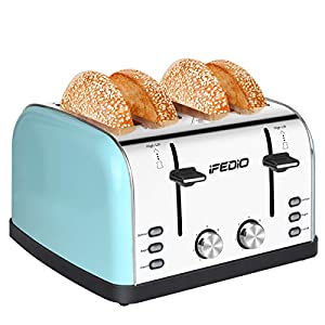 Toaster 4 Slice Toaster 1.5-inch Extra Wide Slot Toasters Best Rated Prime Stainless Steel Four Slice Bread Bagel…
