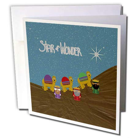 (3dRose Beverly Turner Christmas Design - Star of Wonder, Three Wise Men and Camels in The Desert, Star in Sky - 12 Greeting Cards with envelopes (gc_297217_2))