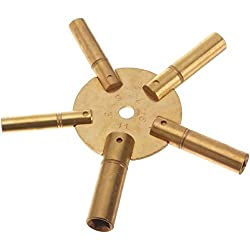 Universal 5 Prong Brass Clock Key for Winding Clocks, ODD Numbers, 1 Piece from Brass Blessing