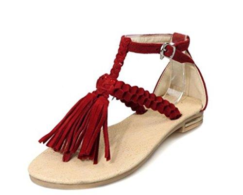 à Plat Glands Fête 1CM 34 Molleton Femmes 41 Bohème Sandales Pince xie Sandales Shopping xwYqZa6ABU